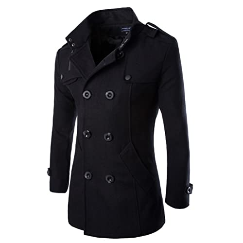 18e0d7c14742 HDH Mens Double Breasted Pea Coat Long Jacket Slim Fit Long Sleeve Casual  Lightweight Jacket Parka