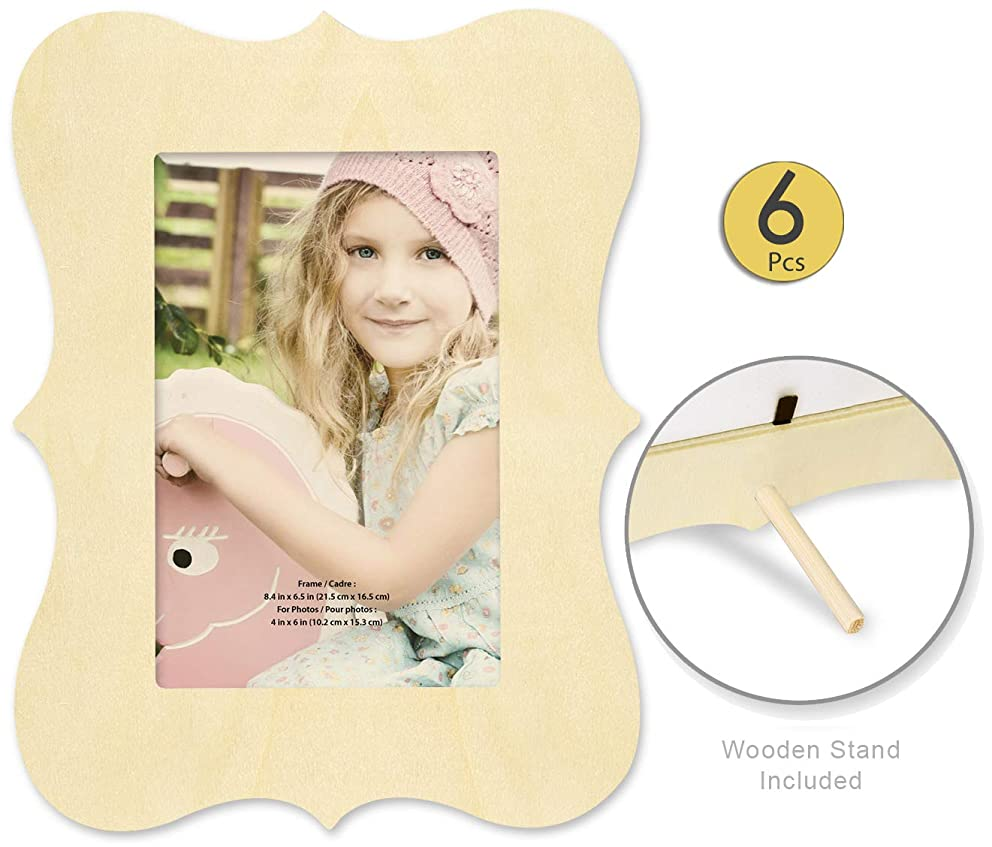 Pack of 6 Unfinished Wood Picture Frames for Crafts - Unfinished Wood Frames with Stand Make Your Own Picture Frames Paintable Frames Fits a 4x6 Inch Photo Craft Frames with Stand Bulk Value Pack