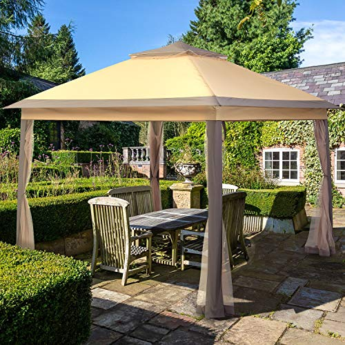 Outdoor Pop Up Gazebo Canopy,HYD-Parts Double Top Outdoor Patio Garden Tent Patio Gazebo Shelter with Mosquito Net for Wedding Party (11x11FT)