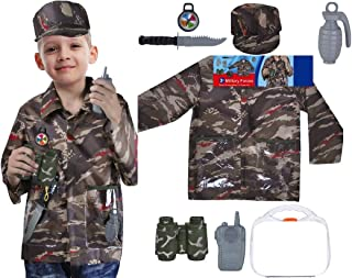 Yalla Baby Boys Military Forces Commander Solider Costume for Kids Boys 7pcs Set Pretend Dress up Role Play (3-8 Years, 8...