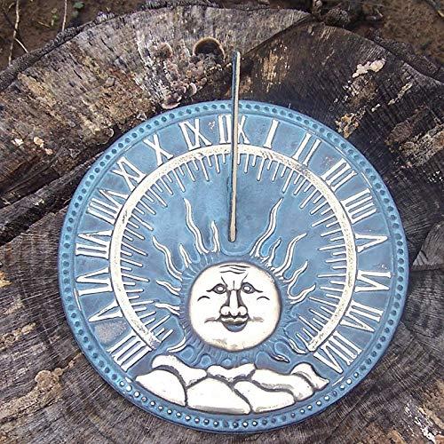 IDYL Outdoor Zeitmesser aus Bronze Flache Sonnenuhr - hochwertig und auffällig | Nr. 6302 | Maße: 26 x 26 x 9 cm