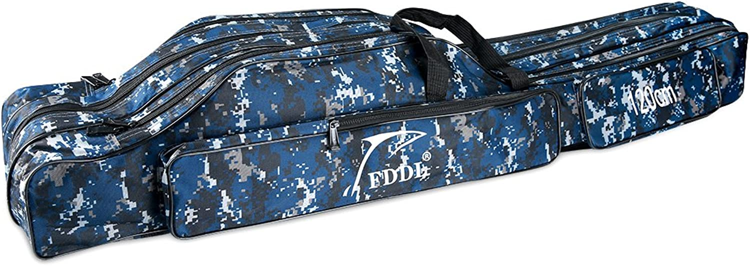 WATERFLY Folding Fishing Rod Bag Portable Fishing Rod Carrier Fishing Tool Storage Bag Case