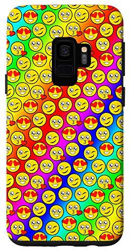 Galaxy S9 Emoji Pattern Phone Case Smiley Rainbow Background Case