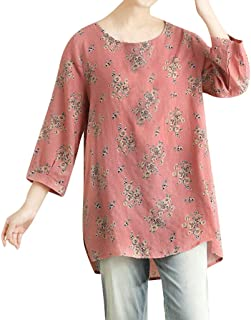 Fankle Women's Tops Blouse 3/4 Long Sleeve Ladies Floral Print Casual Loose Shirt Plus Size Tunic Pullover