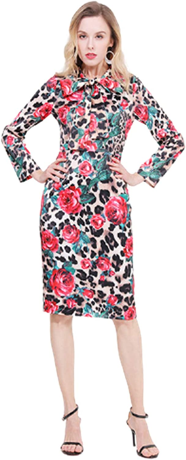 Women's Casual Long Sleeve Dress,Wear to Work Office Pencil Dress,Lace-Up Collar Long Skirt,Picture Color,M
