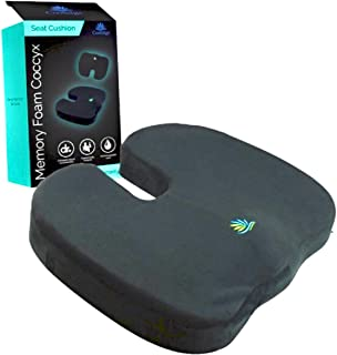 Coolidge Premium Quality Seat Cushion - Comfort Memory Foam Coccyx Car and Office Seat Cushion Designed for Back Support, Sciatica and Tailbone Pain