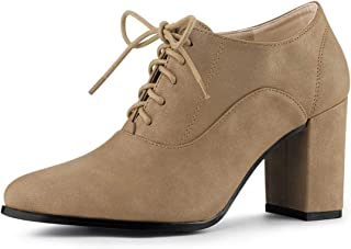 Allegra K Women's Pointed Toe Lace Up Chunky Heel Ankle Boots