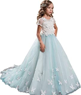 Sittingley Fancy Flower Girls Pageant First Communion Dresses White Blue Dresses 0-12 Year Old