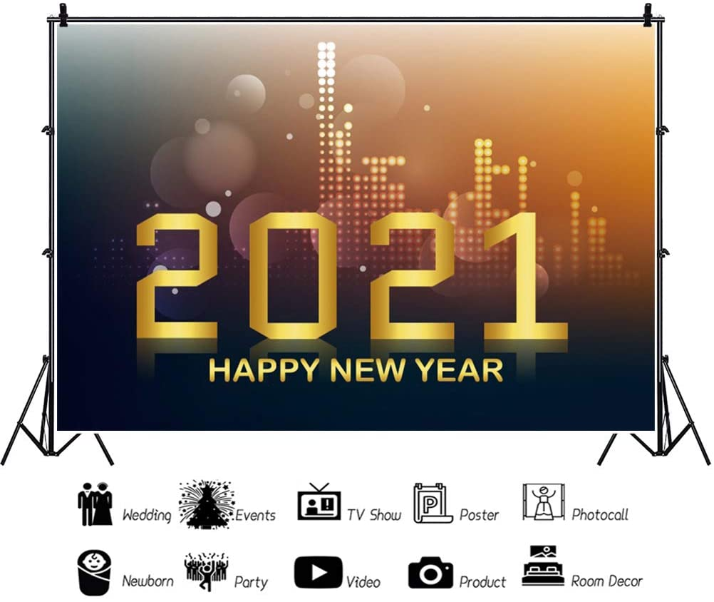 YongFoto 12x10ft Happy New Year Backdrop Abstract Building Bokeh Dote Glitter Night 2021 Photography Background Home Decor Christmas Eve Party Winter Festival Portrait Photo Studio