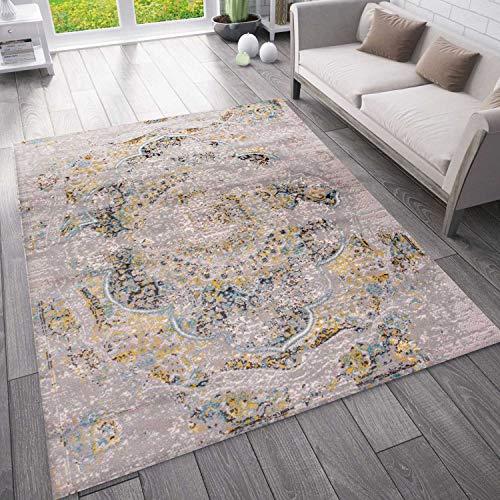 VIMODA Moderner Vintage Look Teppich Orientalisch Meliert, Farbe:Anthrazit, Maße:120x170 cm