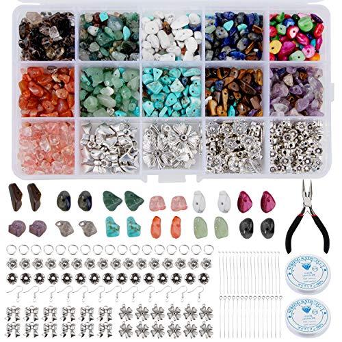 Cuentas de Piedras Preciosas Coloridas 933 Piezas Piedras Irregulares Fabricación de Joyas Kit con Trenza y Alicates para Manualidad de Bricolaje Pulseras Aretes Collar