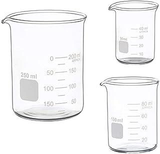 Best Glass Measuring Low Form Beaker Set 50ml 100ml 250ml Glass Graduated Beaker Set Review