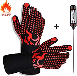 IVSUN BBQ Gloves,1472? Heat Resistant Protective Grill Gloves with Meat Thermometer, Silicone Non-Slip Cooking Oven Mitts Kitchen Grilling Gloves for Barbecue/Baking/Welding