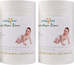 Babygoal Baby Cloth Diaper Liners, Flushable Biodegradable Viscose Bamboo Liners for Cloth Diaper Nappy 2 Pack(200 Sheets)