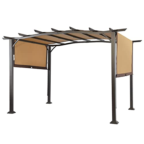 LCH 12 x 9 Ft Pergola Outdoor Steel Frame Patio Sun Shelter Retractable Canopy Shades Garden Backyard
