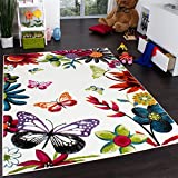 Paco Home Teppich Kinderzimmer Schmetterling Bunt Kinderteppich Butterfly Creme Mehrfarbig