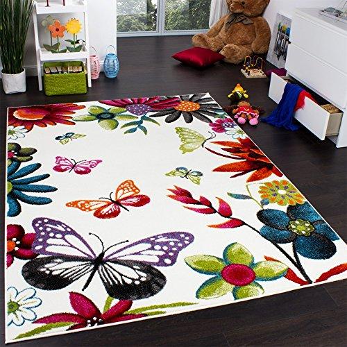 Paco Home Alfombra Infantil Butterfly - Diseño Colorido De Mariposas - Crema Multicolor, tamaño:120x170 cm