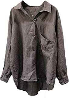 Minibee Women's Casual Cotton Linen Blouse Plus Size High Low Shirt Long Sleeve Tops