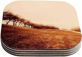 """تصميم سيلفيا كومز """"مينيماليست أتوم لاندسكيب """" من كيس إنهاوس، أصفر (مجموعة من 4)، 10.16 سم × 10.16 سم، متعددة الألوان"""