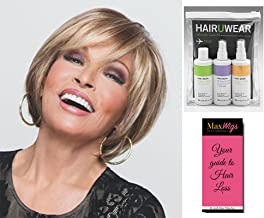 Bundle 3 items: Muse Wig Lace Front Monofilament Layered Bob by Raquel Welch Wigs SS14/88, HairUWear Travel Kit, MaxWigs Hairloss Booklet
