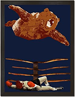 Sharp Shirter Cool Wrestling Poster Funny Bear Wall Art Man Cave Print Boxing Home Decor Unframed Blue 8x10 Inches