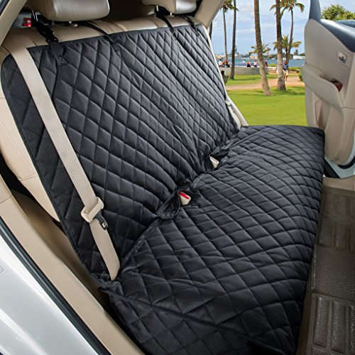 VIEWPETS Bench Car Seat Cover Protector - Waterproof, Heavy-Duty and Nonslip Pet Car Seat Cover for Dogs with Universal Size Fits for Cars, Trucks & SUVs(Black)