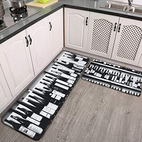 Juego de 2 alfombras de cocina, botellas de vino, alfombrillas de cocina antideslizantes y alfombras de franela suave antideslizante, lavable, duradera