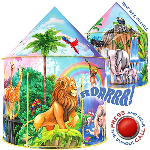 W&O Jungle Adventure Kids Tent with Jungle Call Button, Tent for Kids, Safari Animals, Pop Up Tent Kids Play Tent for Boys & Girls, Outdoor & Indoor Tents for Kids, Kids Tents, Jungle Animals
