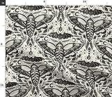 Spoonflower Stoff – Aquarell-Totenkopf Motte Damast
