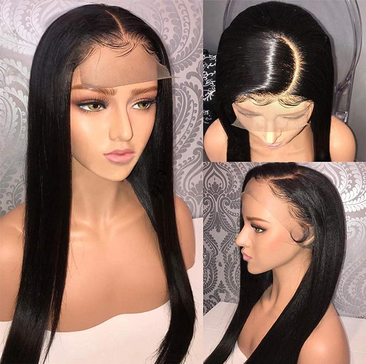 安心インフルエンザ居間女性ストレートヘアレース前頭かつらブラジルのバージン人間の髪の毛のかつらと人間の髪の毛