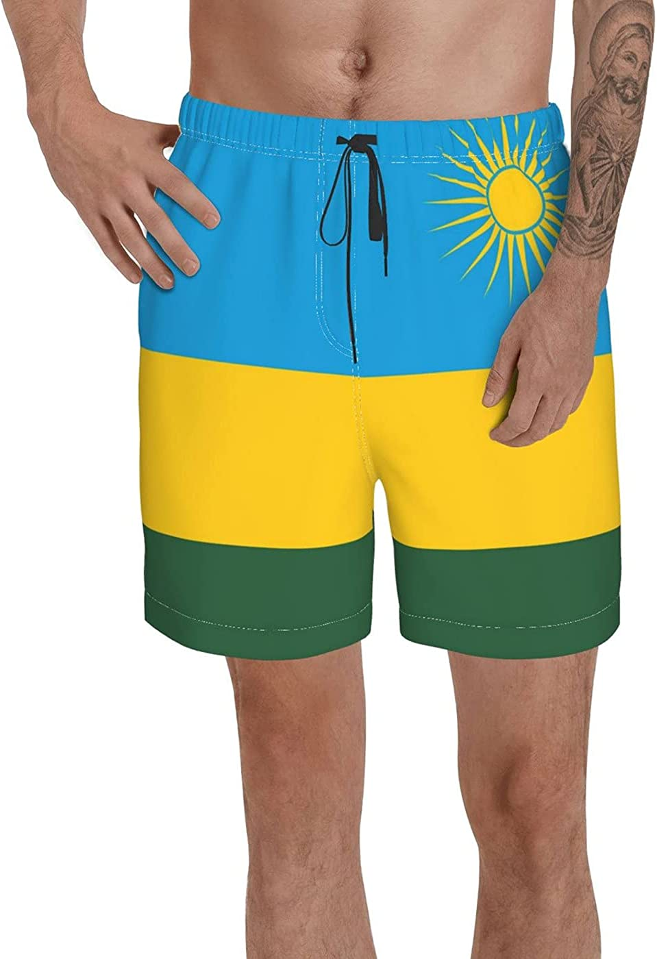 Count Rwanda Flag Men's 3D Printed Funny Summer Quick Dry Swim Short Board Shorts with