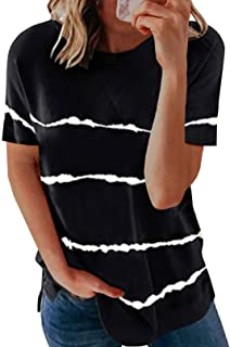 Biucly Women's Short Sleeve Crewneck Shirts Loose Casual Tee T-Shirt