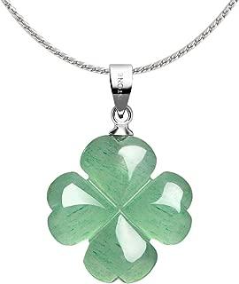 iSTONE Four Leaf Clover Pendant Necklace Green Aventurine Gemstone Pendant Necklace 18