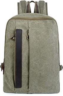 14inch Laptop Square Canvas Laptop Large-Capacity Backpack Fashion Multi-Function Leisure Travel Bag. XFGBTJKYAUu (Color : Green, Size : 19 Inches)