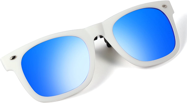 Bertha TR90 Polarized Clipon Flip up Clip Wayfarer Sunglasses Lenses (White, bluee)