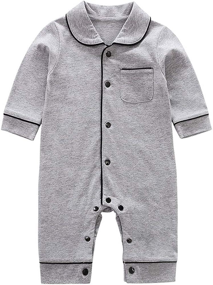 Tugao Newborn Baby Boys Girls 100% Cotton One Piece Pajamas Romper Toddler Sleepwear