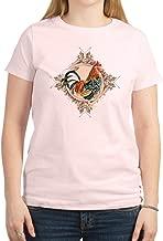CafePress Vintage Rooster Etched Design Crew Neck Tee
