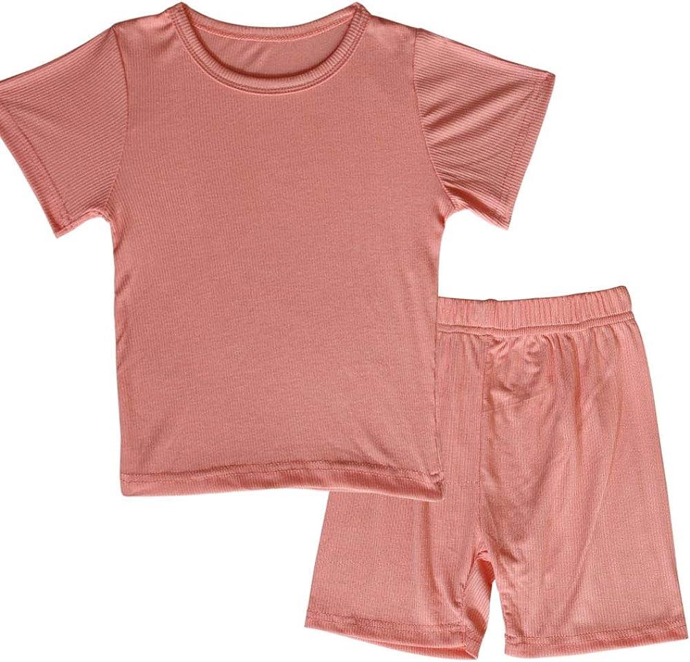 Toddler Girls Boys Short Sleeve Pajamas Set Little Kids Sleepwear 2 Piece Summer Loungewear 1-6Years