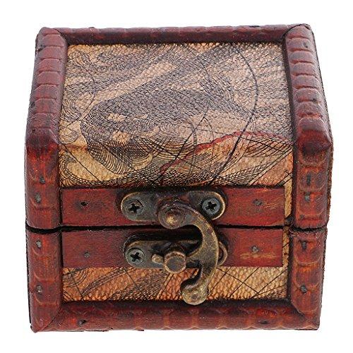 Amuzocity Joyero Retro con Caja de Almacenamiento de Madera con Cerradura, Decoración del Hogar, Regalo de Boda