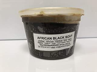 Original Authentic GREENandORGANIC Brand 100% Natural Herbal Virgin RAW Organic Pure African Black Soap Paste 16oz Tub/Jar/Deli Container Premium Acne Eczema Skin Body Hair cleanser Unrefined Ghana