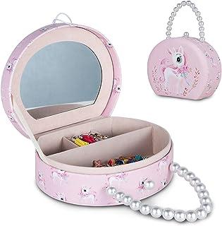 صندوق مجوهرات للبنات من إلتويلمب، صندوق منظم مجوهرات وحيد القرن بمقبض ومرآة، حقيبة تخزين بنمط وحيد القرن وردية رائعة لهداي...