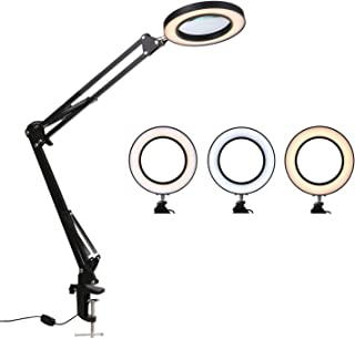 Lixada Lámpara LED de Aumento de 8X Clip de Luz Aumento 10 Niveles Brillo 3 Colores Regulable Lámpara de Escritorio Alimentado por USB Operado con Soporte Flexible para Impresión, Maquinaria, Tallado