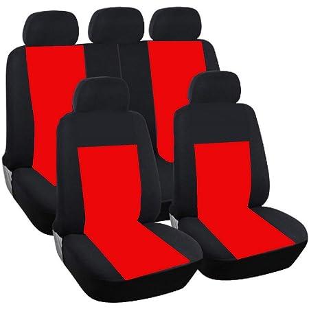 Komplettsatz Schonbezüge Rot Schwarz Sitzbezüge Strapazierfähig Hochwertig Polyester Komfort Neu Auto Pkw Baby