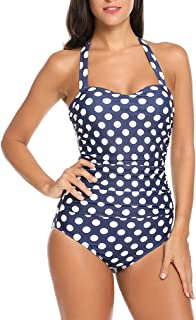 Qearal 50s Retro Vintage Polka Dot Halter One Piece Monokini Swimsuit