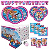 Paw Patrol Skye and Everest Girl Birthday Party Supplies Set - Serves 16 - Banner, Tablecover, Dinner Plates, Cake Plates, Cups, Napkins, Button