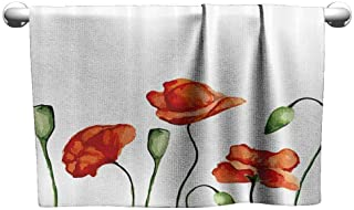 Mannwarehouse Flower Decor Beach Activity Bath Towel Floral Theme Watercolor Style Effect Poppies Blossom Illustration W10 x L10 Fern Green and Scarlet
