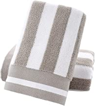 Tinymumu Hand Towels Set of 2 Striped Pattern 100% Cotton Absorbent Soft Towel for Bathroom 13.4 x 29.1 Inch (Grey)