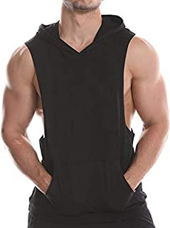 Men's Gym Tank Tops Cotton Workout Fitness Hooded Vest Sports Muscle T Shirt Sleeveless Hoodies with Pockets
