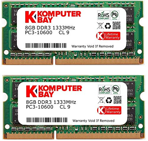 Komputerbay 16 GB Kit (2x8GB) ノートPC用メモリ DDR3 1333 MHz PC3 10600 204 Pin SODIMM Laptop upgrade 永久保証 (16 GB Kit(2x8GB)) Apple MAC