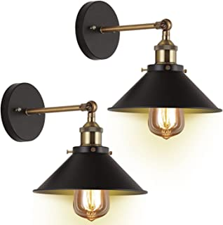Wall Sconces 2-Pack JACKYLED UL Black Hardwire Industrial Vintage Wall Lamp Fixture..